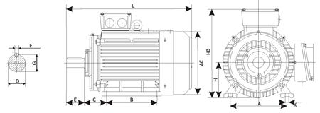 Чертеж: габаритные и присоединительные размеры электродвигателя АИР112M4 с лапами