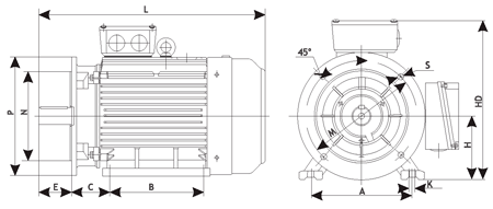 Чертеж: габаритные и присоединительные размеры электродвигателя АИР112M4 с фланцем
